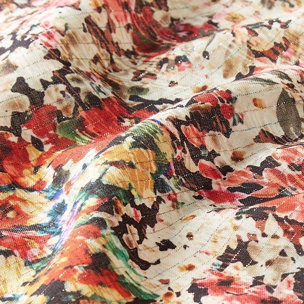 Tissu de chemisier laine Fleurs aquarelle rayures Lurex – crème/rouge vif