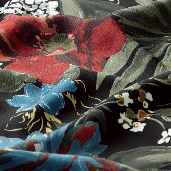Satin crêpe Design italien Fleurs exotiques – noir