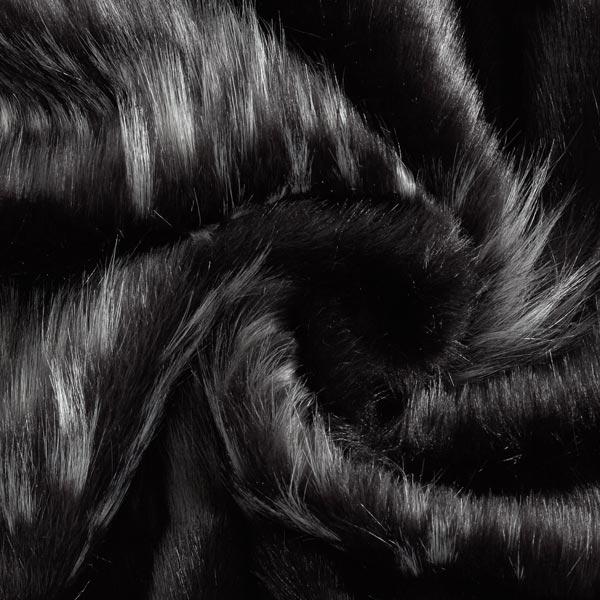 Fourrure synthétique rayures grises – noir/gris