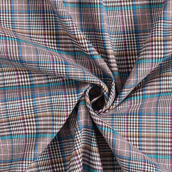 Pantalon en coton stretch Glencheck classique – écru/turquoise