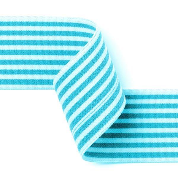Ruban élastique avec bordure à rayures [40 mm] - turquoise / blanc