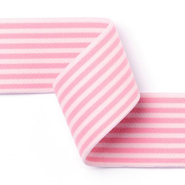Ruban élastique avec bordure à rayures [40 mm] - rose