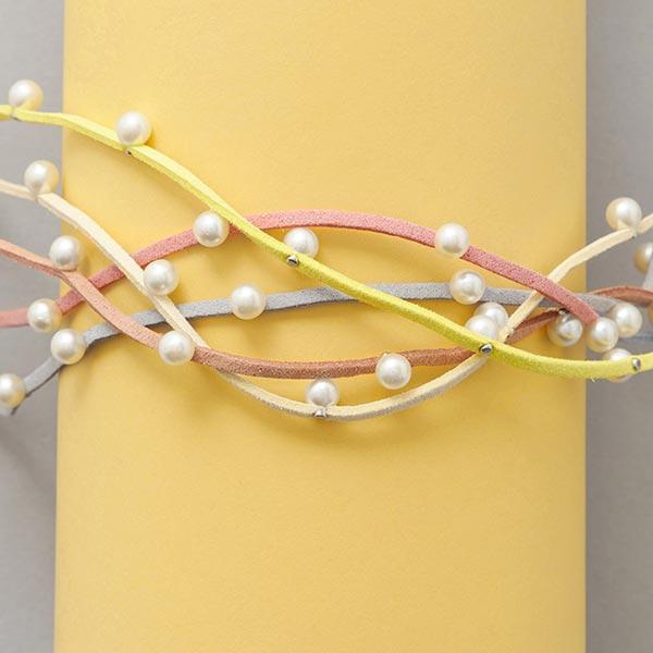 Ruban imitation cuir avec perles [ 3 mm ] – rosé