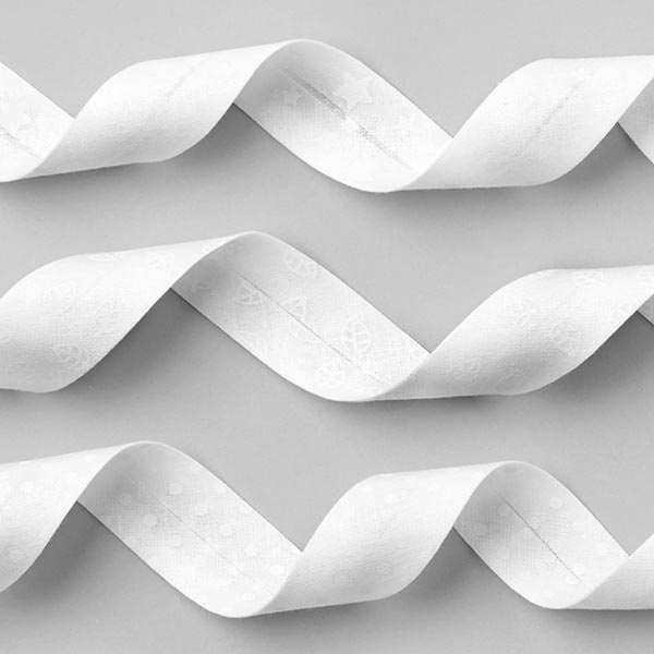 Biais Feuilles 1 [20 mm] - blanc