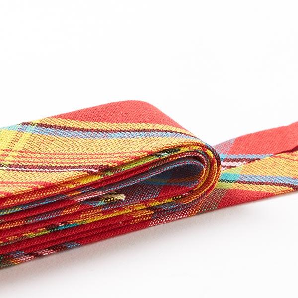 Biais en coton « Karo-linchen » [27 mm] - rouge/turquoise