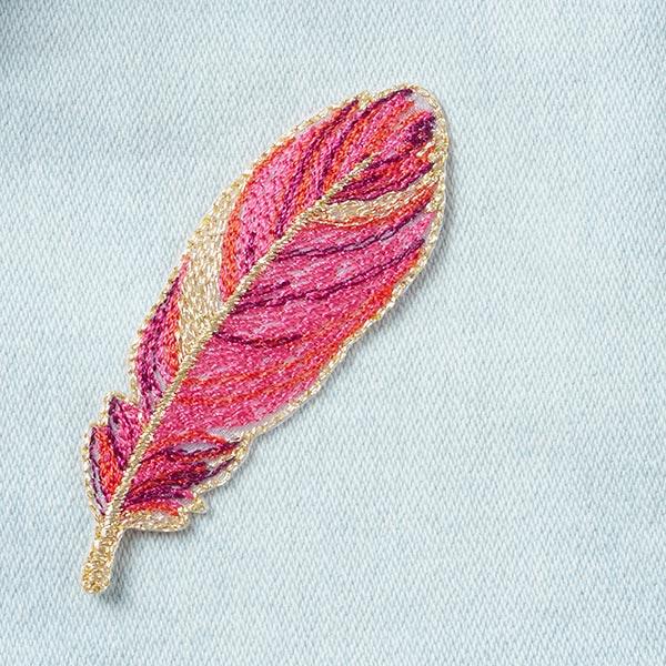 Application Plume [2,3 x 7 cm] - rose vif