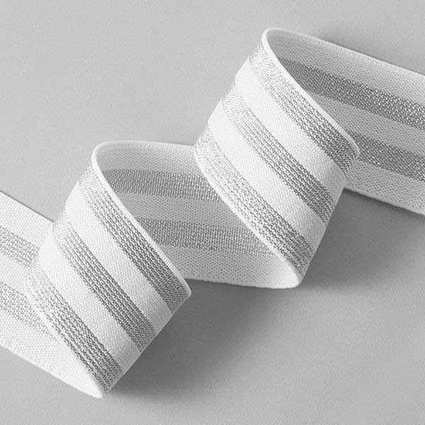 Gestreiftes Gummiband [40 mm] – weiss/silber