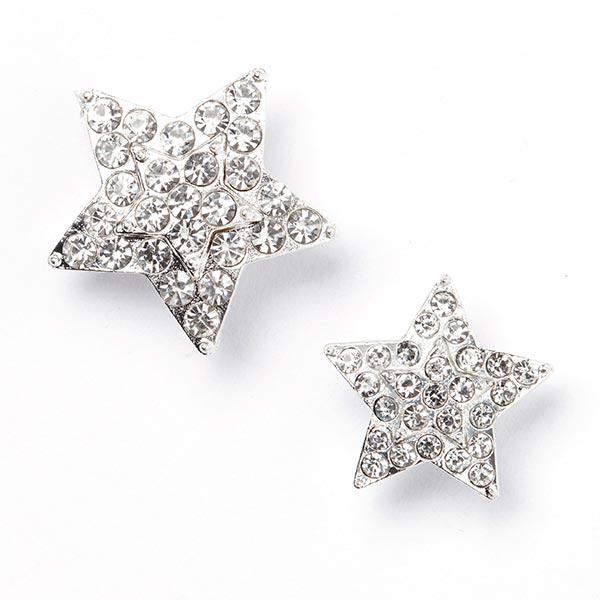 Bouton strass étoile - argent