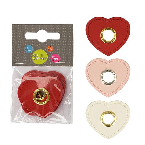 Œillet sur patch Similicuir cœur  [ 4 Pièces ] – rosé