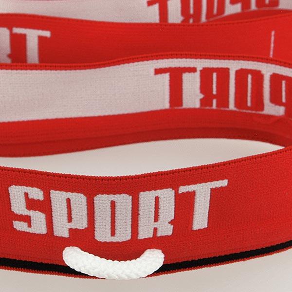 Ruban élastique « Sport »  [ Largeur : 40 mm ] – rouge/blanc