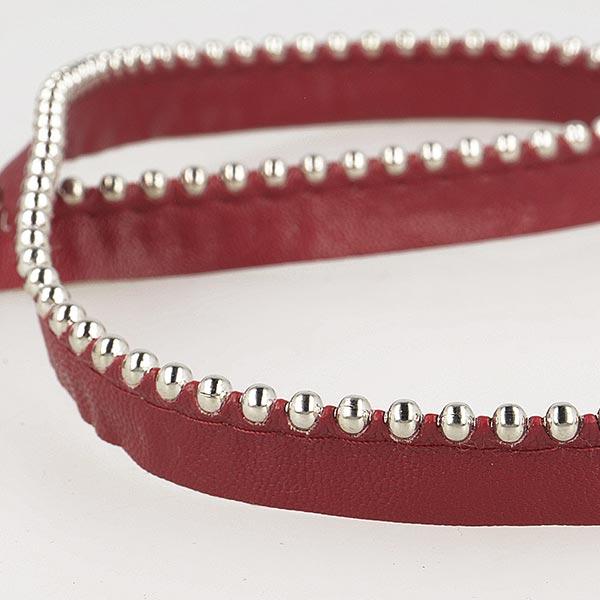 Passepoil avec perles de métal  [ Largeur : 13 mm ] – rouge bordeaux