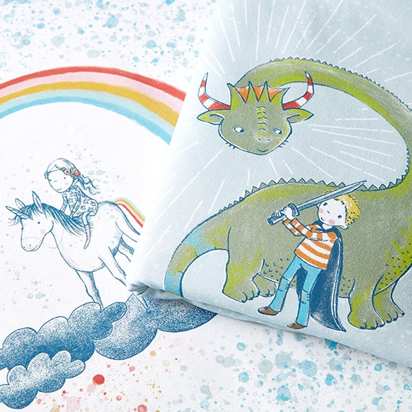 Jersey coton Panel pour pochettes surprise Dragon | lillestoff – bleu clair/vert