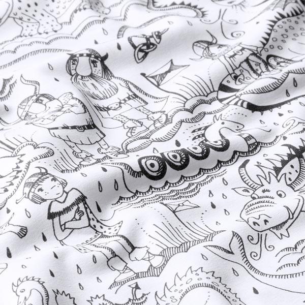 Tissu à colorier Bio Jersey coton Vikings | Lillestoff – blanc/noir