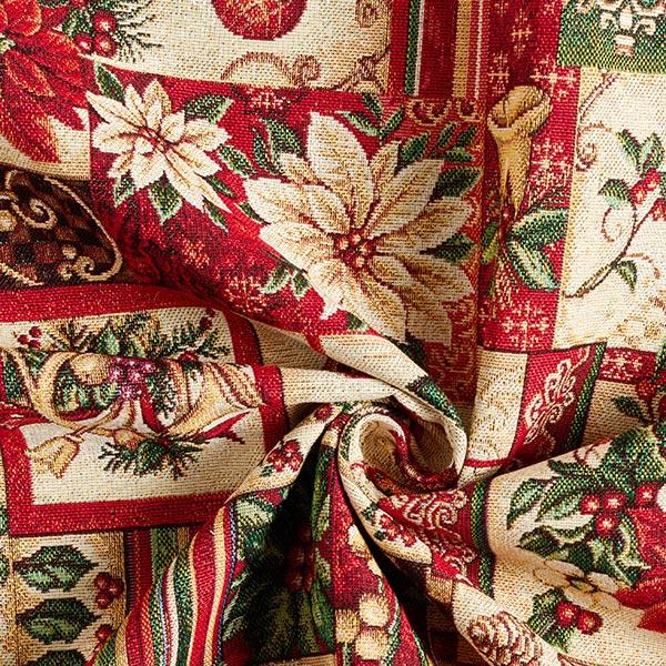 Tissu de décoration Gobelin Motifs de Noël – crème/rouge
