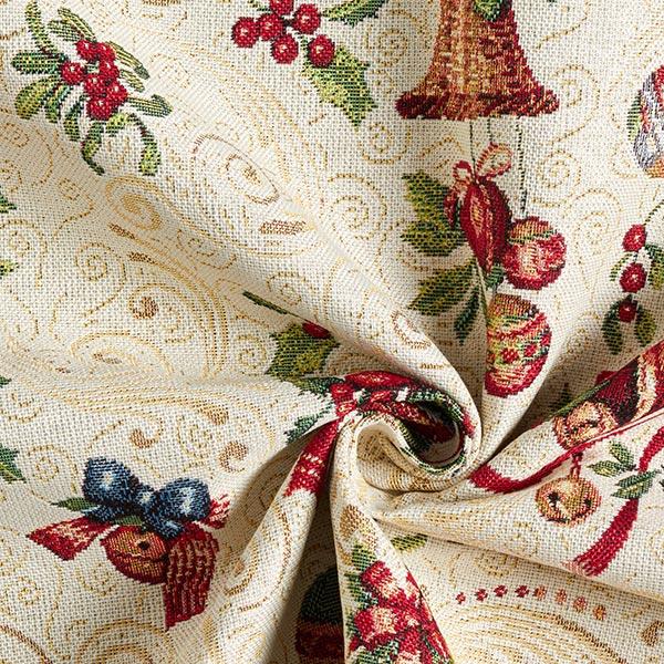 Tissu de décoration Gobelin Cloches de Noël – écru