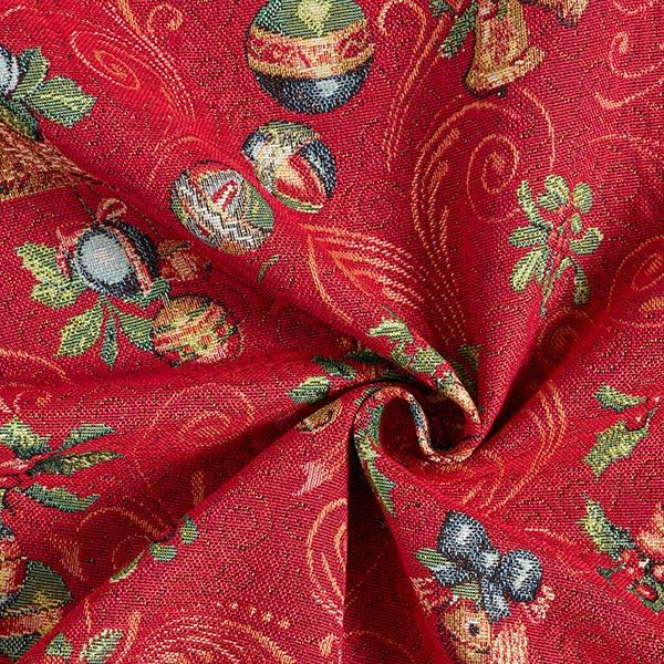 Tissu de décoration Gobelin Cloches de Noël – rouge