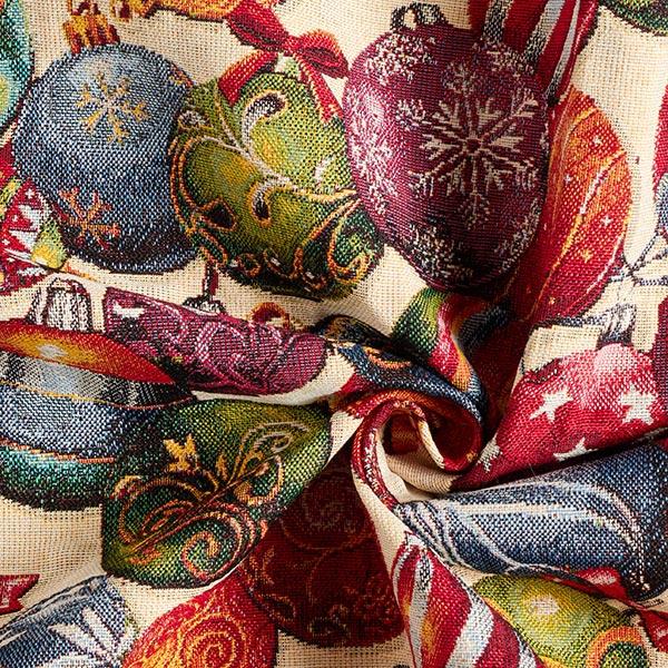 Tissu de décoration Gobelin Boules de Noël multicolores
