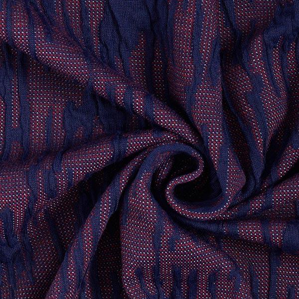 Jersey Jacquard Cloqué – bleu marine/rouge