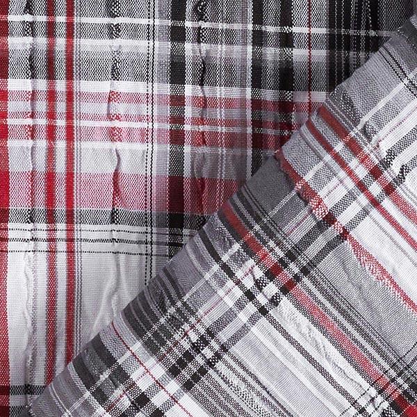 Tissu pour chemise Seersucker Motif carreaux – rouge/noir