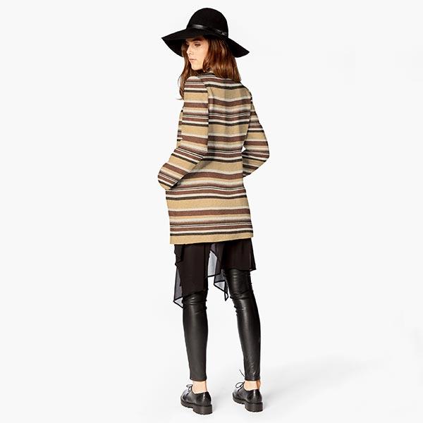 Tissu pour manteau Mélange laine vierge Rayures horizontales – beige/marron