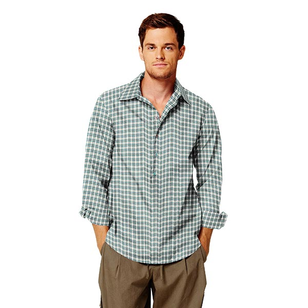 Tissu pour chemise Sergé de coton Philip – turquoise/beige