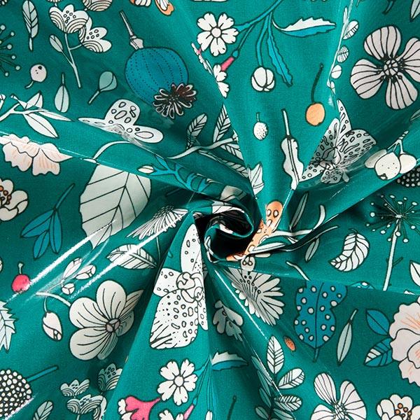 PVC- Baumwollstoff Hygge Blumen Neon | Rico Design – grün