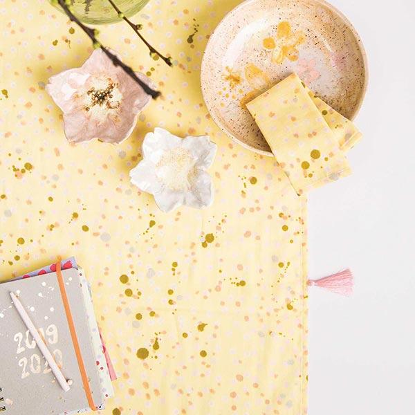 Tissu de décoration Mousseline Points – jaune