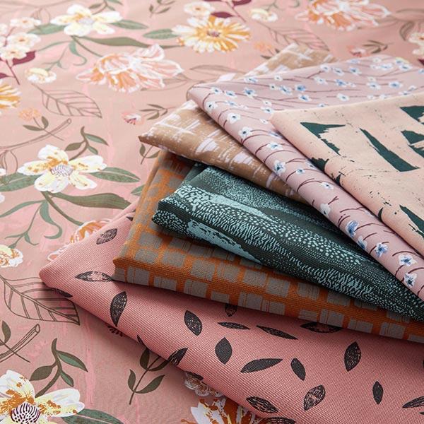 Tissu de décoration Canvas  Feuilles | Rico Design – rose