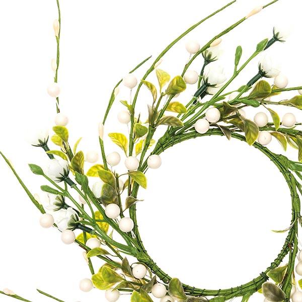 Couronne de fleurs décorative avec baies [Ø11 cm/ 39 cm] – blanc/vert