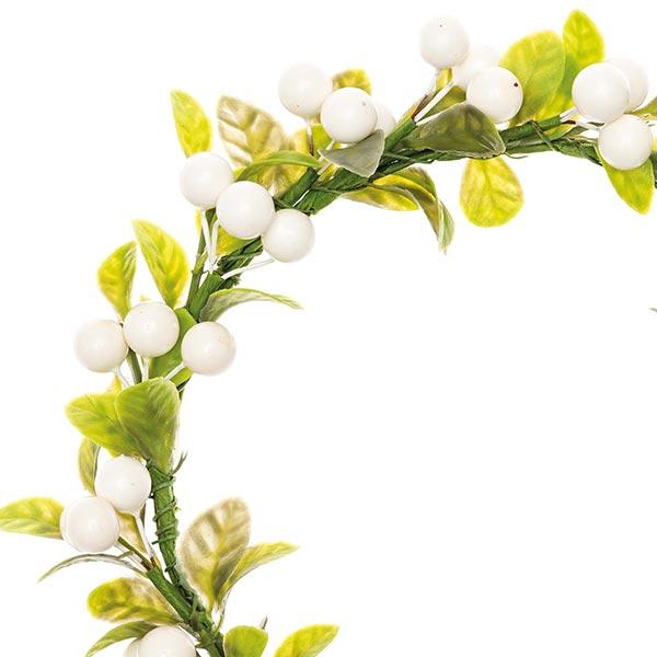 Couronne de fleurs décorative avec baies [Ø12 cm/ 17 cm] – blanc