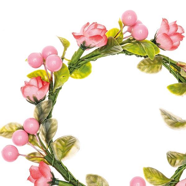 Couronne de fleurs décorative avec baies [Ø 9 cm/ 14 cm] – rose/vert