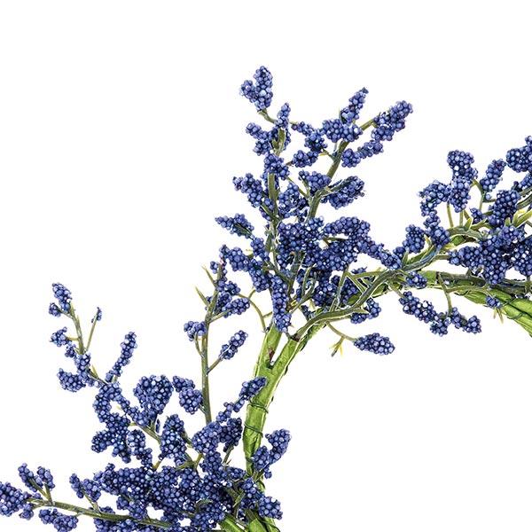 Couronne de fleurs décorative avec baies [Ø 9 cm/ 26 cm] – mauve