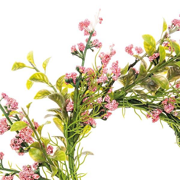 Couronne de fleurs décorative avec baies [Ø 10 cm/ 28 cm] – vieux rose/vert
