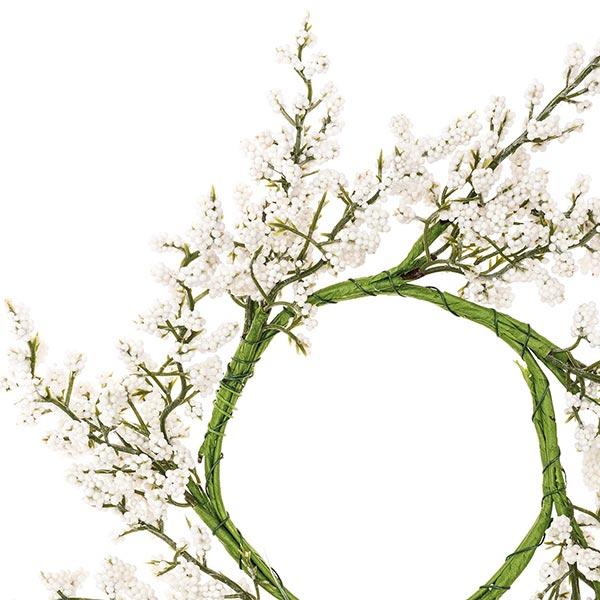 Couronne de fleurs décorative avec baies [Ø 9 cm/ 26 cm] – blanc