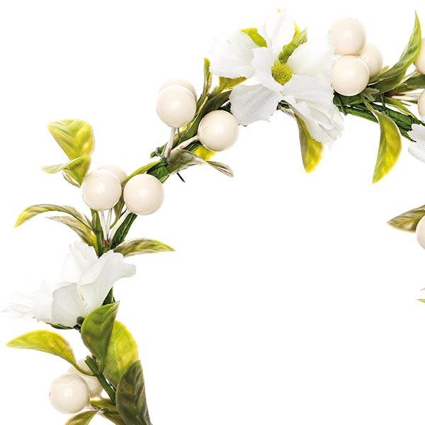 Couronne de fleurs décorative avec baies [Ø 10 cm/ 16 cm] – blanc/vert