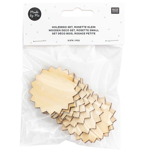 Déco en bois pendentifs rosette petite Set[ 4,5 x 5 cm ]   Rico Design – nature