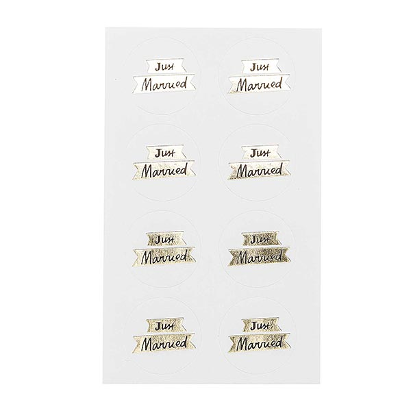 Sticker JUST MARRIED| RICO DESIGN – blanc/or