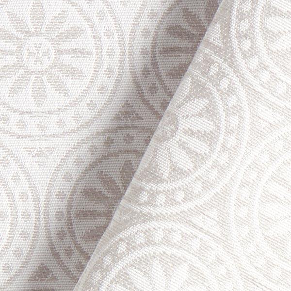 Tissu de décoration extérieur Jacquard Ornements cercle – gris clair/écru