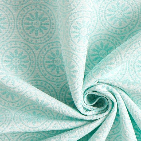 Tissu de décoration extérieur Jacquard Ornements cercle – vert menthe/écru
