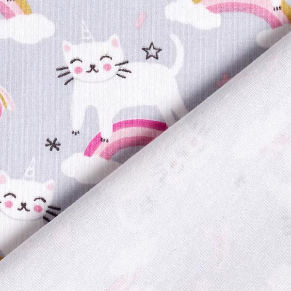 Jersey coton Chat licorne Arc-en-ciel – gris/rose