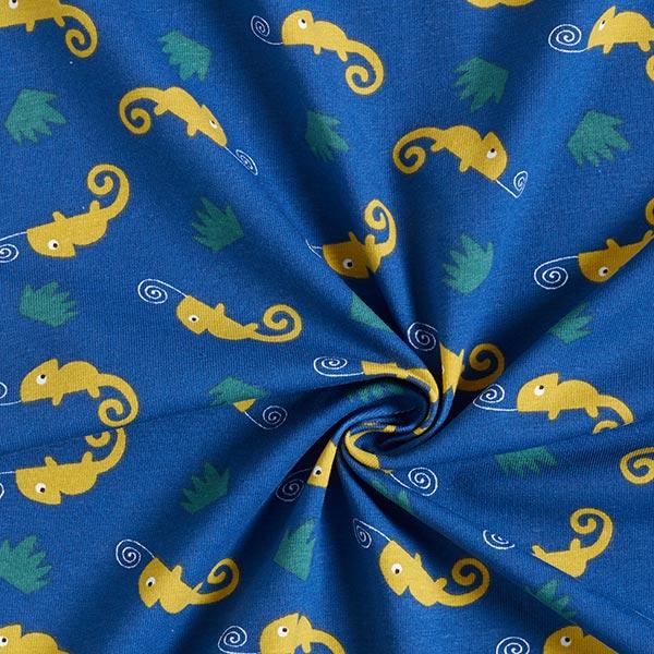 Jersey coton Caméléon – bleu jean/vert tilleul