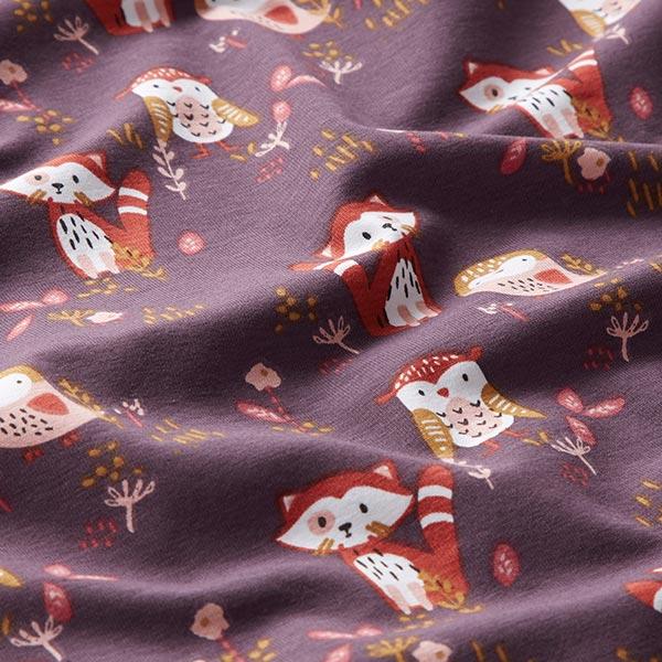 Jersey coton Petit panda et chouette – aubergine