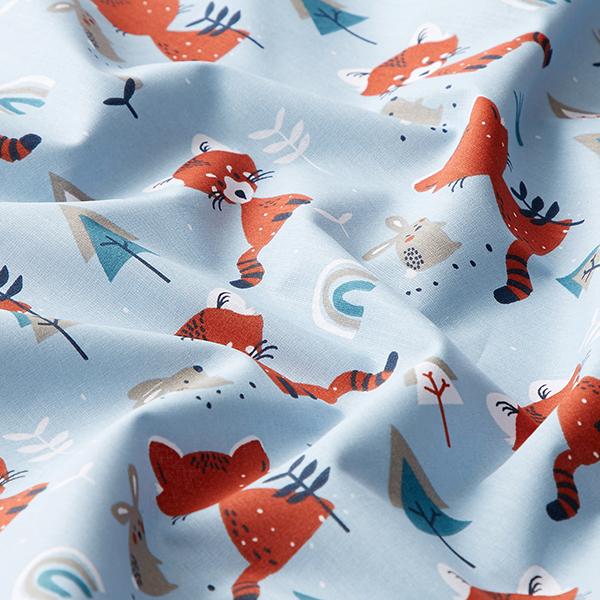 Tissu en coton Cretonne Renard et lapin – bleu clair