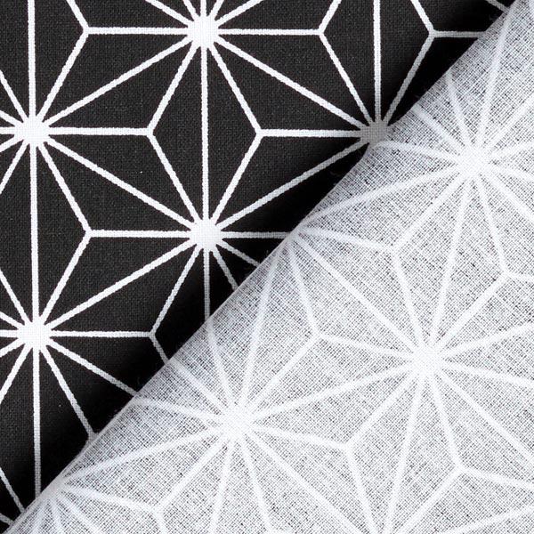 Cretonne Étoiles japonaises «Asanoha» – noir