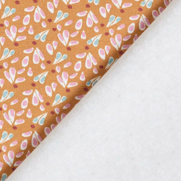 Jersey coton Cœurs de fleurs feuillues subtils – marron/jaune