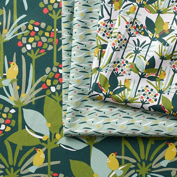 Tissu de décoration Cretonne Feuilles – vert menthe