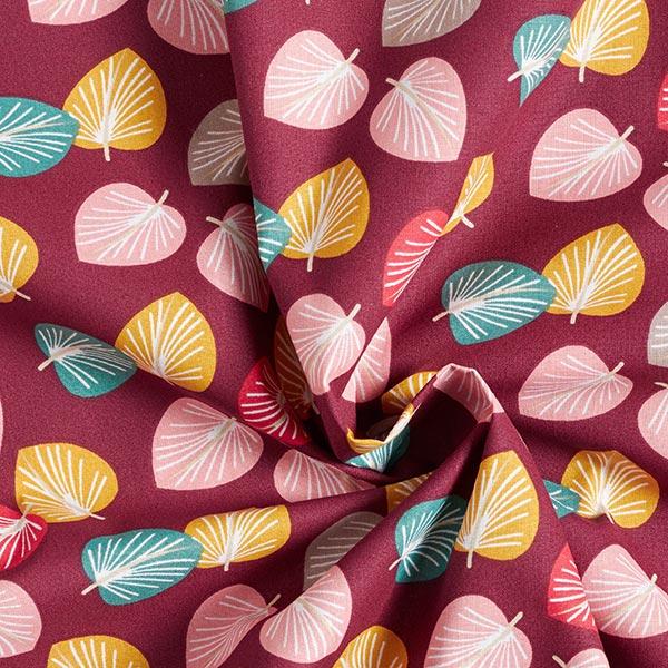Tissu en coton Cretonne Feuilles – rouge bordeaux