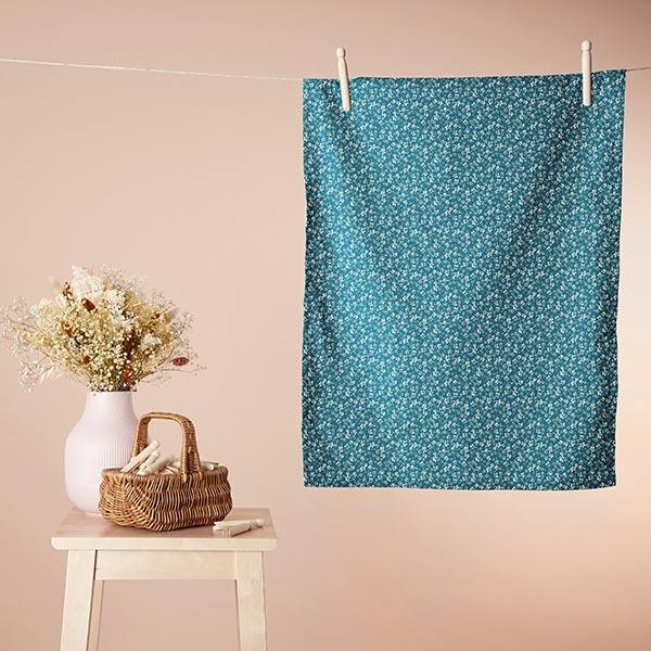 Tissu en coton Cretonne Petites fleurs – bleu