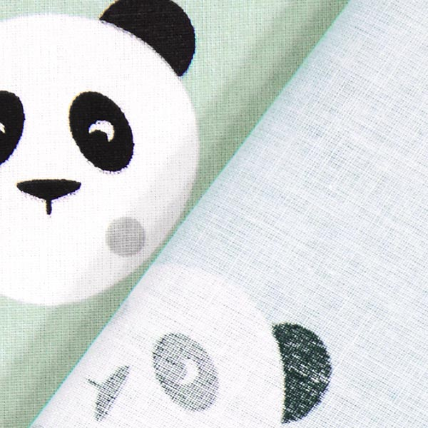 Cretonne Panda Maotey – vert menthe