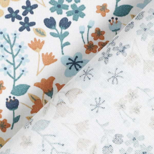 Tissu en coton Cretonne Fleurs filigranes – bleu clair/blanc